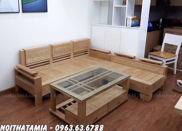 Hình ảnh mẫu ghế sofa gỗ đẹp góc chữ L