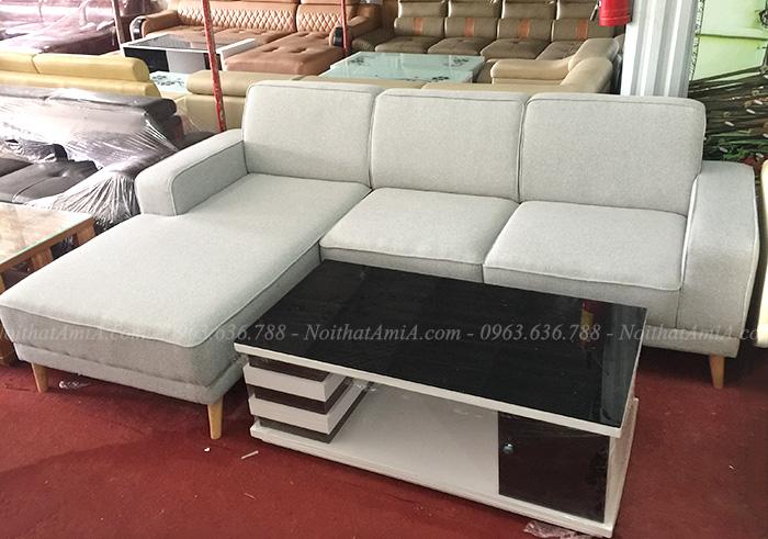 Hình ảnh Mẫu ghế sofa nỉ chữ L đẹp hiện đại giá rẻ tại Hà Nội