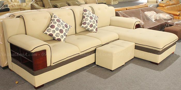 Hình ảnh Mẫu sofa da đẹp Hà Nội thiết kế kiểu dáng chữ L 4 chỗ