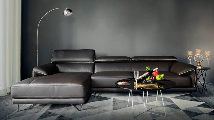 Hình ảnh Mẫu sofa da đẹp màu đen sang trọng và đẳng cấp cho căn phòng khách gia đình