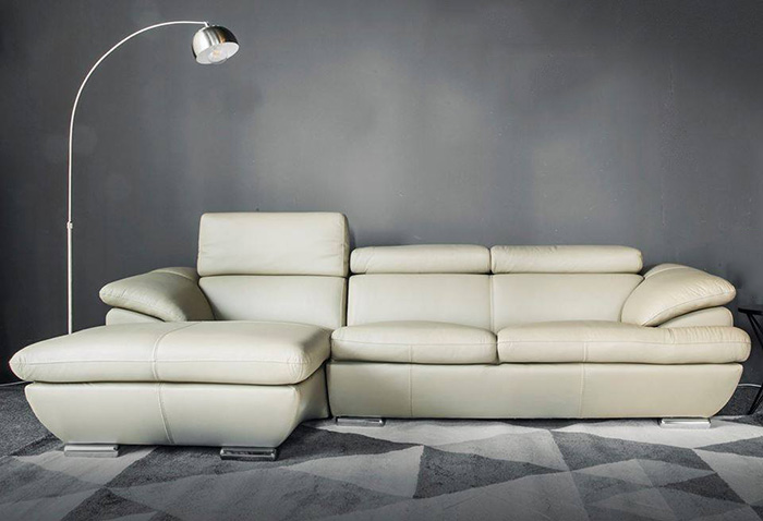 Hình ảnh mẫu sofa da đẹp màu trắng thiết kế hình chữ L cho phòng khách đẹp