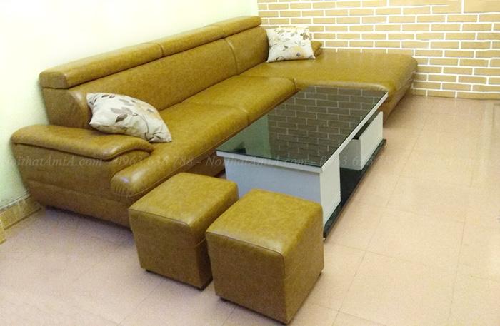 Hình ảnh Mẫu sofa da đẹp bài trí trong căn phòng khách gia đình