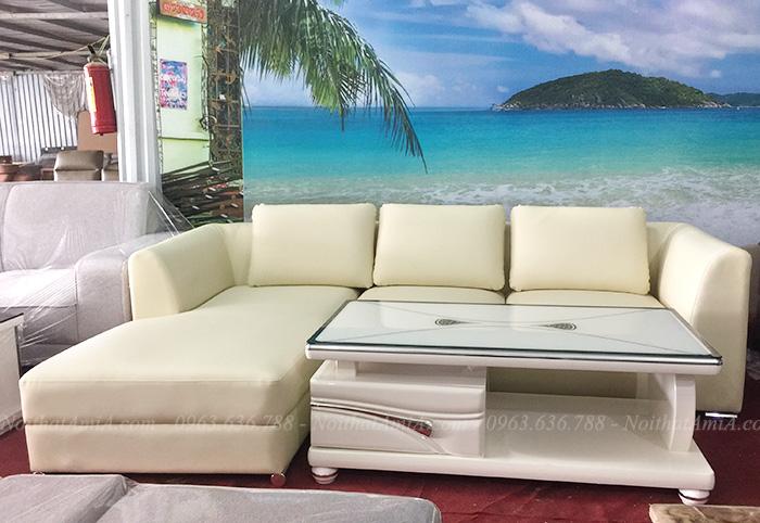 Hình ảnh Sofa da chữ l đẹp hiện đại giá rẻ tại Hà Nội