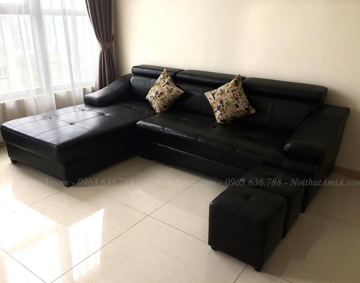 Hình ảnh Sofa da chữ  L phòng khách đẹp bài trí trong phòng khách căn hộ chung cư