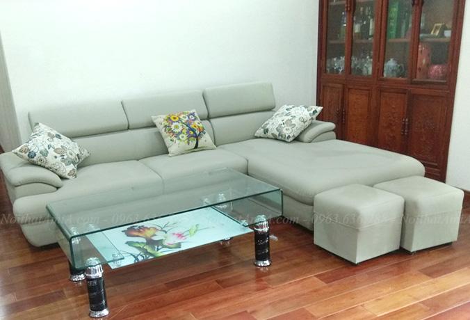 Hình ảnh Sofa da góc chữ L đẹp, mẫu ghế sofa da đẹp cho phòng khách gia đình Việt