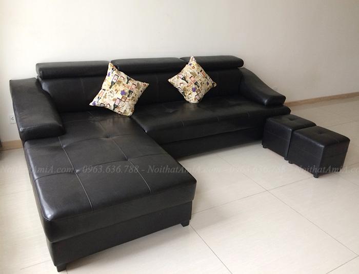 Hình ảnh Sofa da phòng khách chữ L thiết kế rút khuy kết hợp tựa đầu gật gù