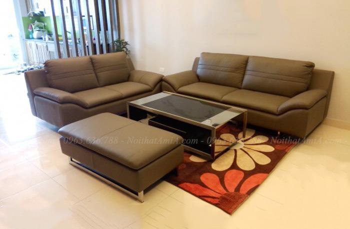 Hình ảnh Sofa da phòng khách dạng ghế văng kết hợp đôn lớn