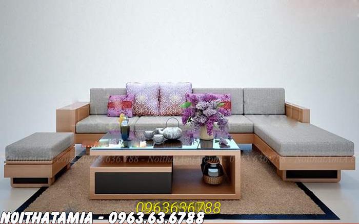 Hình ảnh mẫu ghế sofa gỗ chữ L đẹp hiện đại