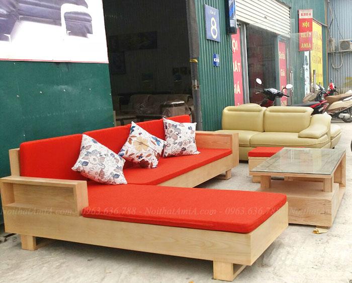 Hình ảnh Ghế sofa gỗ hình chữ L hiện đại được tích hợp thêm phần nệm mút