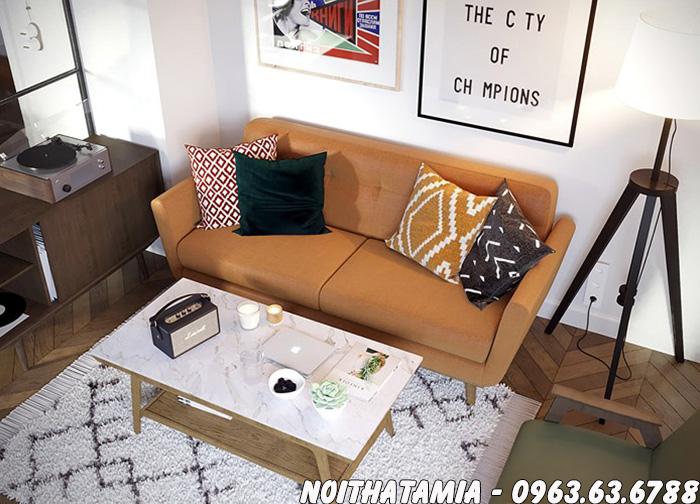 Hình ảnh Sofa trong phòng ngủ thiết kế ghế văng nỉ 2 chỗ