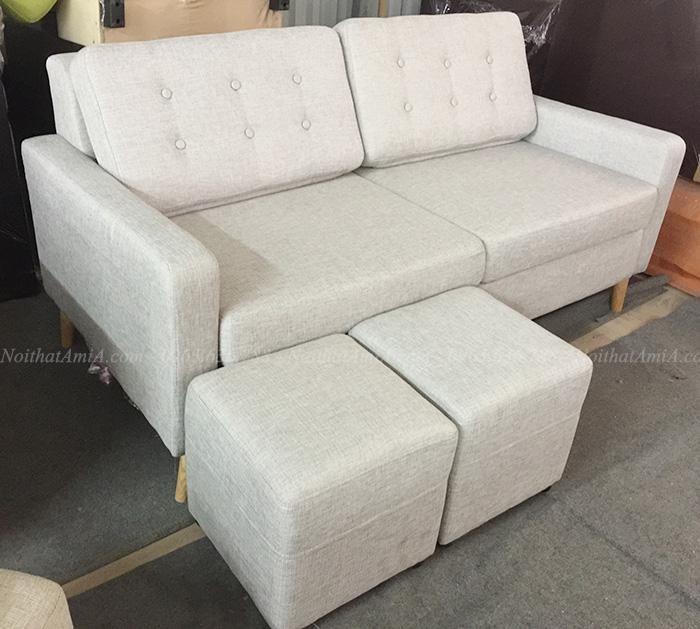 Hình ảnh Sofa văng nỉ kích thước nhỏ thiết kế 2 chỗ rút khuy tựa lưng