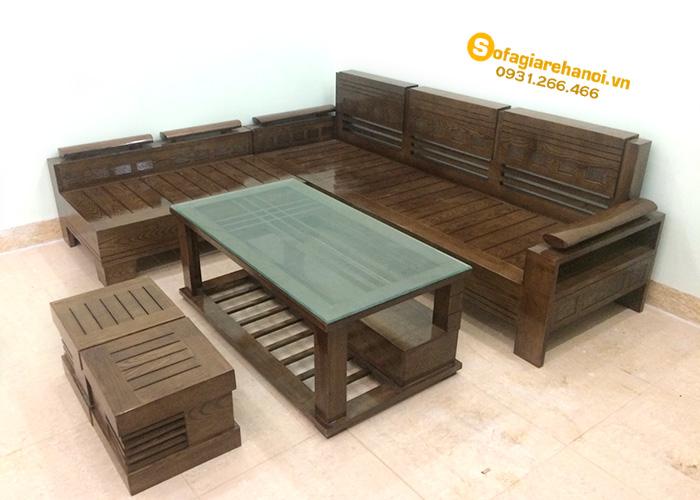 Hình ảnh Bộ bàn ghế gỗ phòng khách thiết kế hình chữ L hiện đại