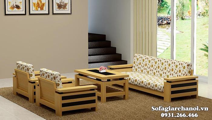 Hình ảnh Bộ ghế sofa gỗ đệm nỉ đẹp hiện đại cho phòng khách đẹp