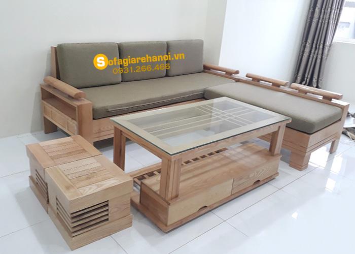 Hình ảnh Bộ ghế sofa gỗ giá rẻ Hà Nội tích hợp phần nệm mút