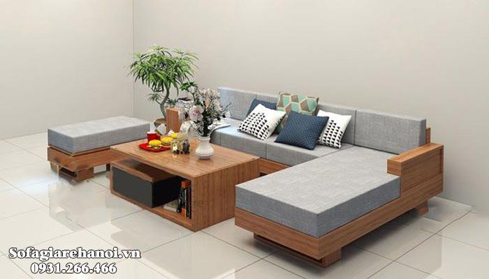 Hình ảnh Bộ ghế sofa gỗ góc đẹp hiện đại tích hợp phần đệm nỉ