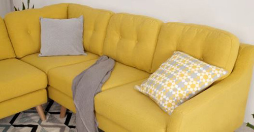 Hình ảnh Chi tiết sofa nỉ đẹp chữ L màu vàng thiết kế rút khuy đính cúc phần tựa lưng
