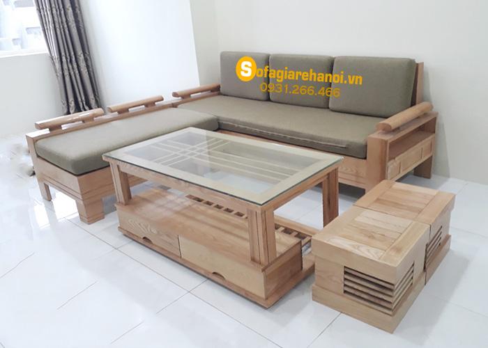 Hình ảnh Ghế sofa chữ L gỗ đẹp cho phòng khách gia đình Việt