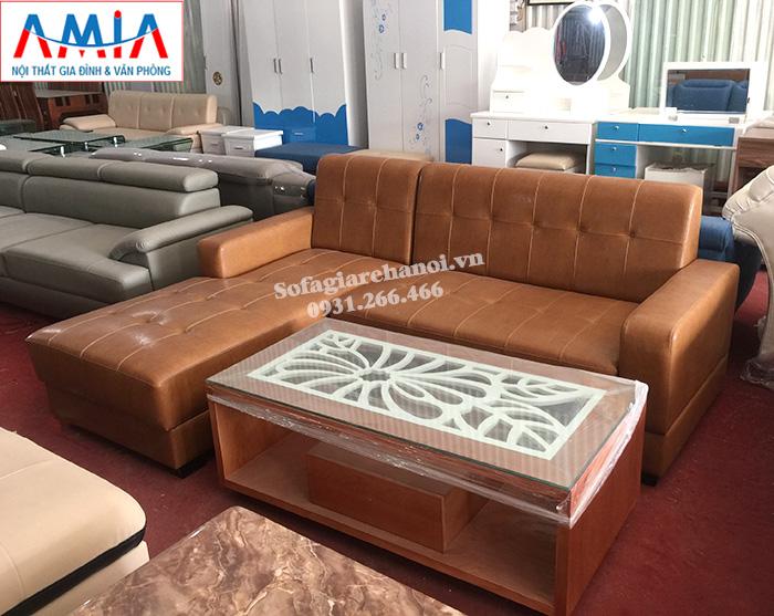 Hình ảnh Ghế sofa da phòng khách nhỏ kiểu dáng hình chữ L hiện đại