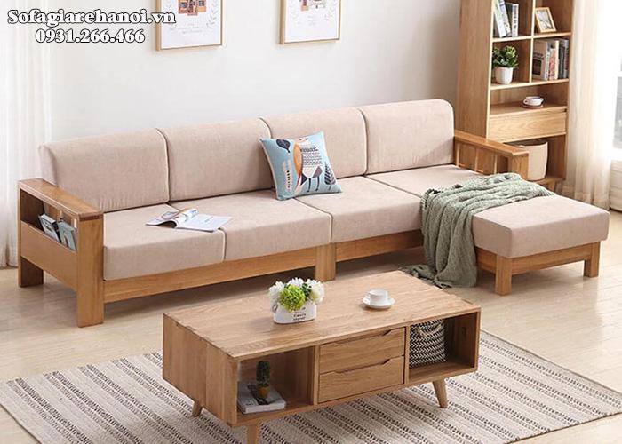 Hình ảnh Mẫu ghế gỗ hình chữ L đệm nỉ hiện đại và sang trọng