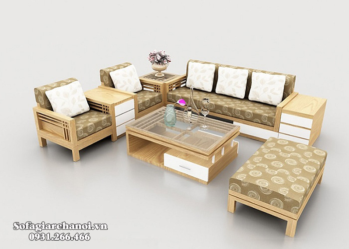 Hình ảnh Mẫu ghế sofa gỗ góc đệm nỉ đẹp hình chữ L