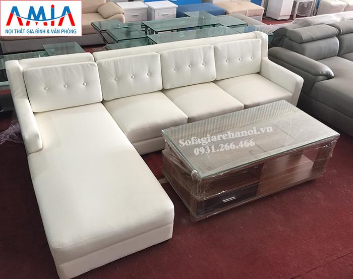 Hình ảnh Mẫu ghế sopha da đẹp hiện đại chụp thực tế tại AmiA