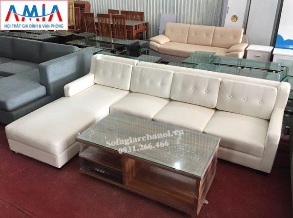 Hình ảnh Sofa da đẹp giá rẻ thiết kế dạng góc chữ L cho phòng khách gia đình