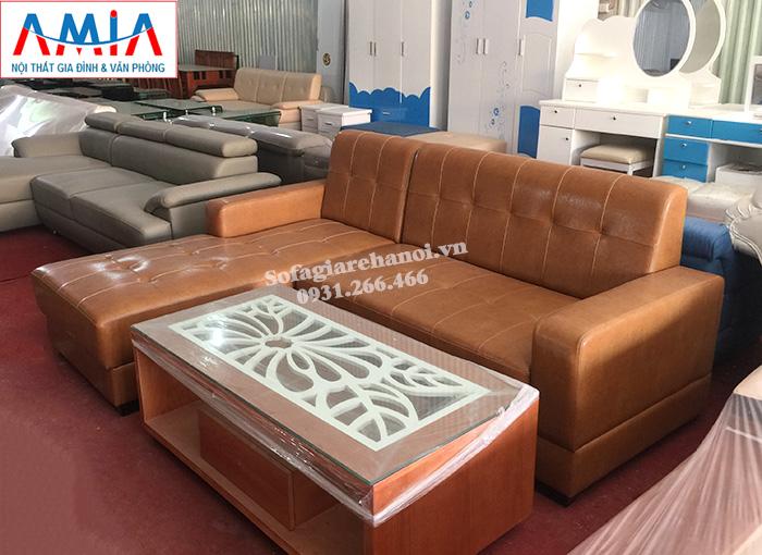 Hình ảnh Sofa da góc nhỏ xinh cho phòng khách nhỏ, nhà nhỏ, chung cư nhỏ