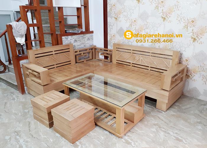 Hình ảnh Sofa gỗ chữ L đẹp thiết kế dạng góc hiện đại và thời thượng