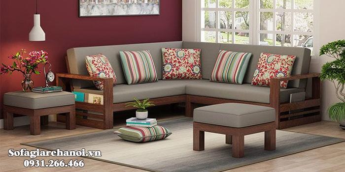 Hình ảnh Sofa gỗ góc chữ L đẹp thiết kế đệm nỉ hiện đại