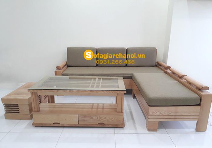 Hình ảnh Sofa gỗ phòng khách đẹp kiểu dáng hình chữ L độc đáo