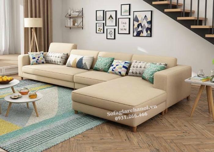 Hình ảnh Sofa nỉ đẹp giá rẻ Hà Nội bài trí trong không gian phòng khách gia đình