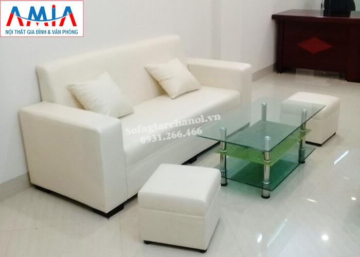 Hình ảnh Ghế sofa văng giá rẻ đẹp hiện đại với gam màu trắng tinh khiết, trẻ trung