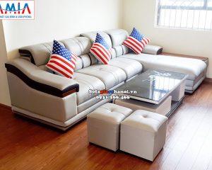 Hình ảnh Ghế sofa da đẹp phòng khách hiện đại và sang trọng