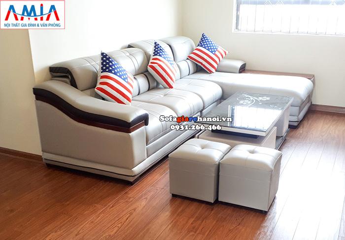 Hình ảnh Mẫu sofa da đẹp chữ L kê phòng khách đẹp gia đình