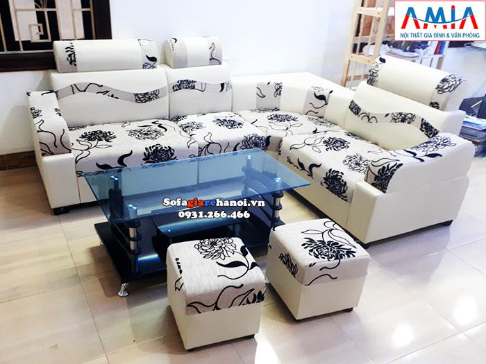 Hình ảnh Bàn kính sofa giá rẻ Hà Nội kết hợp cùng bộ ghế sofa góc nhỏ xinh