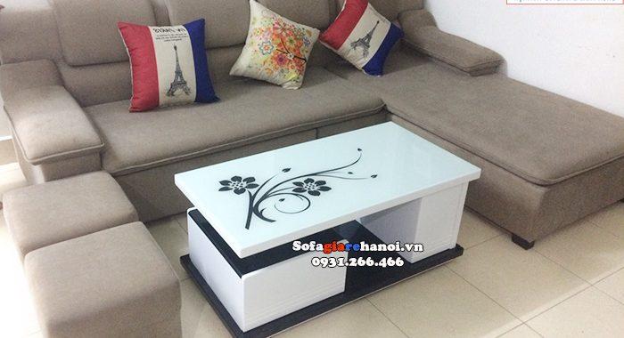 Hình ảnh Bàn trà sofa gỗ kính đẹp hiện đại mặt kính hoa văn đẹp mắt