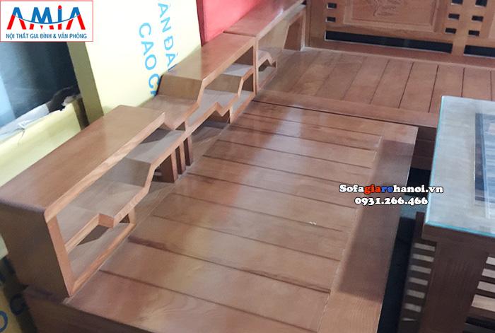 Hình ảnh chi tiết mẫu sòa gỗ chữ L đẹp hiện đại cho phòng khách