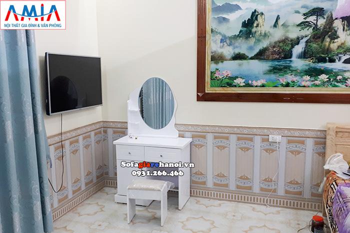 Hình ảnh Mẫu bàn trang điểm đẹp giá rẻ Hà Nội bài trí trong phòng ngủ gia đình