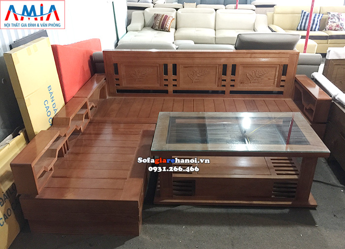 Hình ảnh Mẫu ghế sofa gỗ đẹp hình chữ L hiện đại và tiện lợi
