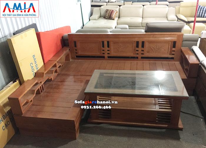 Hình ảnh Mẫu sofa gỗ đẹp hiện đại hình chữ L tiện lợi và tiện dụng