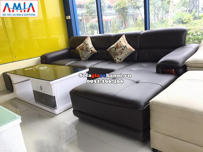 Hình ảnh Sofa da góc giá rẻ phòng khách hiện đại tại Hà Nội