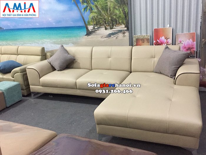 Hình ảnh Ghế sofa da chữ L cho phòng khách đẹp hiện đại thiết kế 3 chỗ tiện lợi