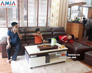 Hình ảnh sofa da góc chữ L kê phòng khách đẹp hiện đại và sang trọng