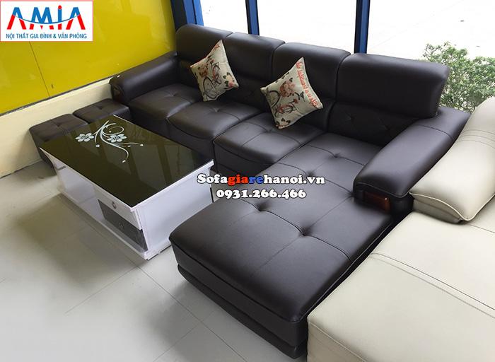 Hình ảnh Ghế sofa da góc giá rẻ Hà Nội kê phòng khách đẹp