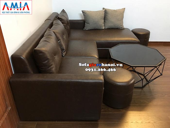 Hình ảnh Bộ sofa da phòng khách nhỏ giá rẻ cho nhà phố, nhà chung cư thiết kế hình chữ L 3 chỗ