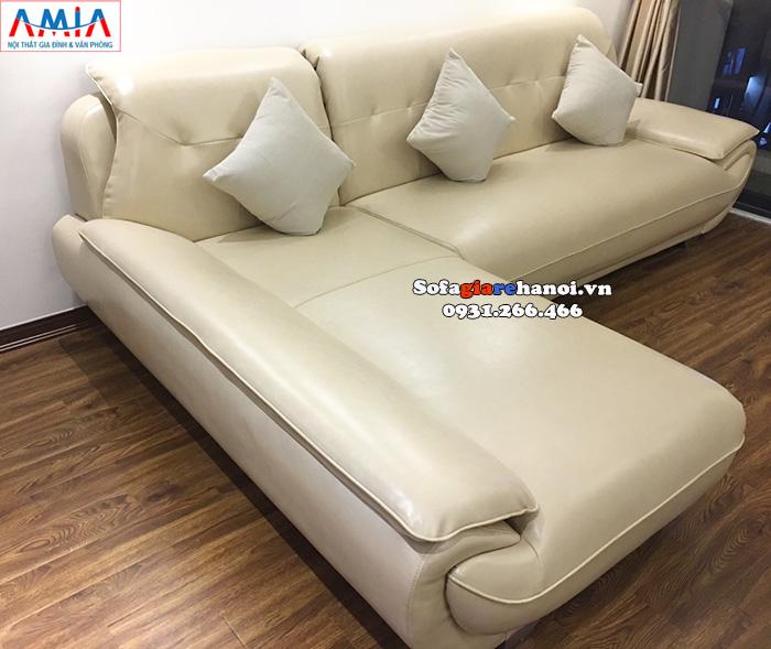 Hình ảnh ghế sofa da chữ L đẹp giá rẻ phòng khách chung cư hiện đại
