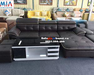 Hình ảnh Ghế sofa da đẹp hiện đại kê phòng khách lớn