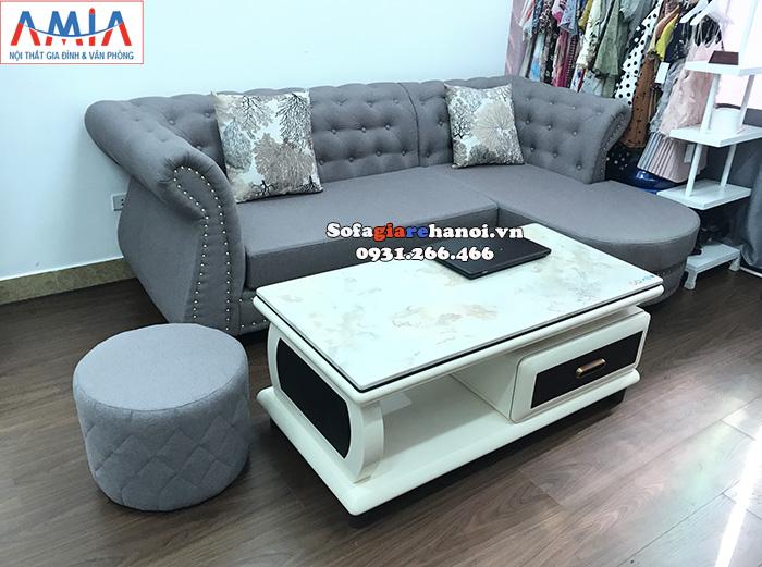 Hình ảnh sofa nỉ cho phòng khách nhỏ hiện đại nhà phố, nhà chung cư, cửa hàng quần áo