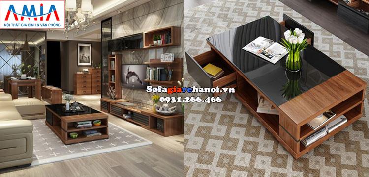 Hình ảnh Bàn trà sofa giá rẻ gỗ kính đẹp cho phòng khách