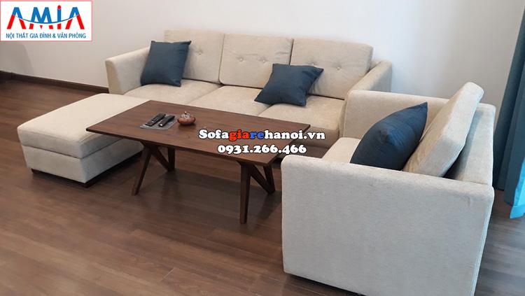 Hình ảnh Sofa văng nỉ phòng khách nhỏ đẹp kết hợp ghế sofa đơn có tay vịn và đôn lớn